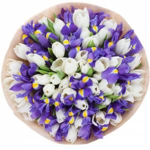 Сборный букет тюльпаны и ирисы R728