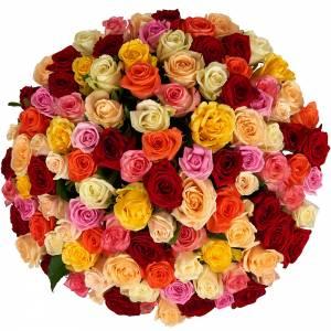 Букет из 101 розы микс с оформлением R113