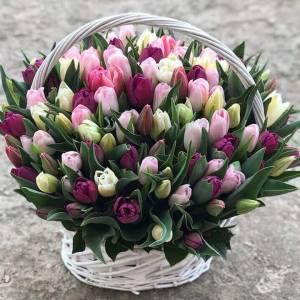 Корзина 101 тюльпан нежный микс R292