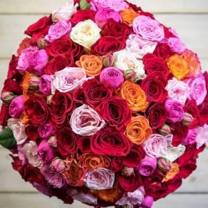 Букет из пионовидной розы с оформлением R158