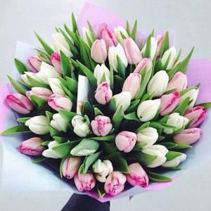 Бело-розовый букет ассорти 59 тюльпанов R650